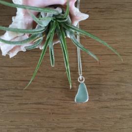 Aqua seaglass necklace in a teardrop shape