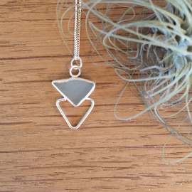 Bespoke blue triangle seaglass necklace