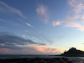 View of St Michaels Mount, Cornwall at sunset.