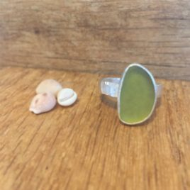 Large olive-green seaglass ring from Porthtowan beach.