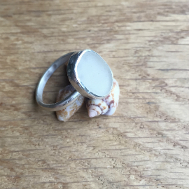 White seaglass ring - side view