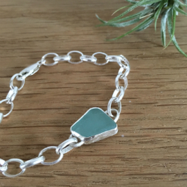 Pale blue seaglass bracelet