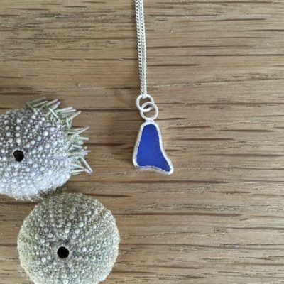 Deep blue seaglass necklace from Gylly beach.
