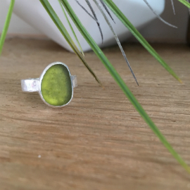 Olive Green seaglass ring - bespoke order - Dollar Cove.