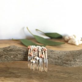 Copper & SIlver Pebble Stacking RIngs