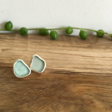 Aqua Seaglass studs with seaglass found in St Mawes & Portloe.