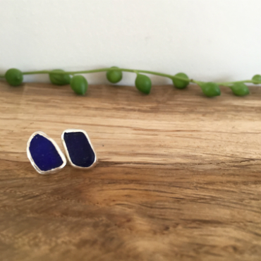 Blue Seaglass studs with seaglass found in Falmouth Bay and Marazion.