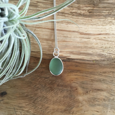 Sage green seaglass necklace from Gyllyngvase.