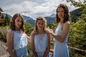 Three bridesmaids wearing Porth Jewellery.