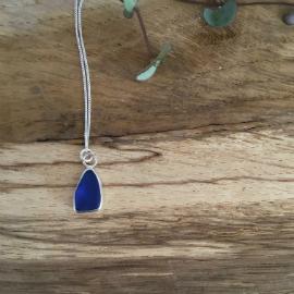 Deep blue seaglass necklace
