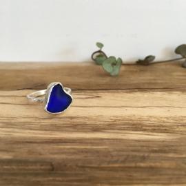 Deep blue seaglass ring.