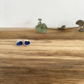 Deep blue seaglass studs.