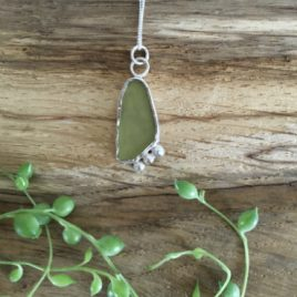 Olive green Seaglass and silver pebble necklace - St Austell Bay.