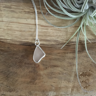 Pink Seaglass Necklace beachcombed in St Austell Bay.