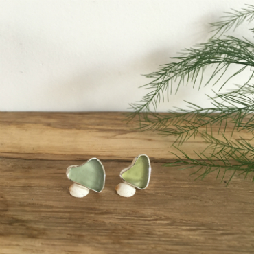 Heart seaglass studs  Gyllyngvase & St Mawes