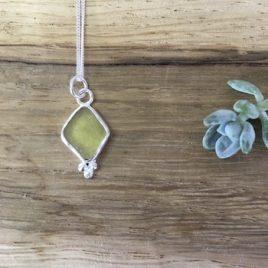 Khaki Seaglass Necklace with silver Pebbles - Castle Beach, Falmouth