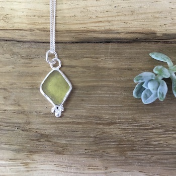 Khaki Seaglass Necklace with silver Pebbles - Castle Beach, Falmouth