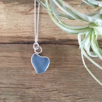 Pastel Blue Heart Seaglass Necklace - Roseland