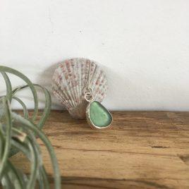 Light Teal Grey Seaglass Necklace Portloe