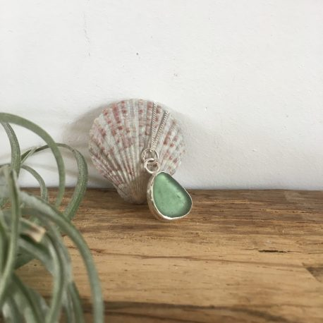 Light Teal Grey Seaglass Necklace Portloe