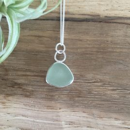 Pale Sage Green Seaglass Necklace - St Ives Beach
