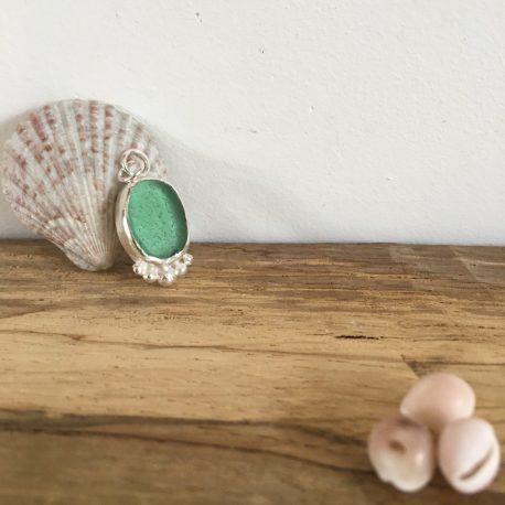 Sea Green Seaglass Necklace with Silver Pebbles- Falmouth Bay