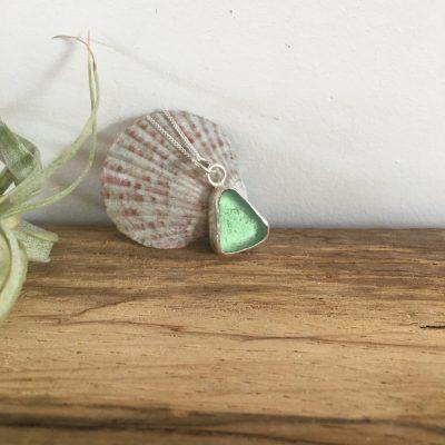 Sage Green Seaglass Necklace - Tuke Beach