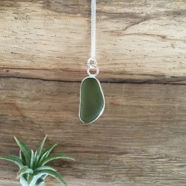 Olive Green Seaglass Necklace - Falmouth Bay