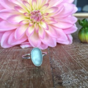Aqua ring made in Seaglass Sessions Workshop