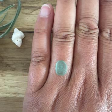 light teal grey bespoke ring order finger