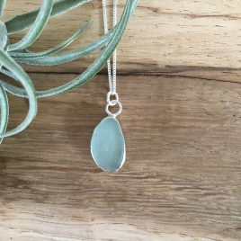 Pale Aquamarine Seaglass Necklace - Gyllyngvase