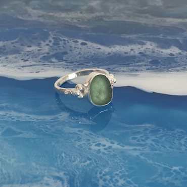 Barnacle Seaglass Ring