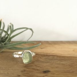 Pale Olive Green Seaglass Ring - Bream Cove