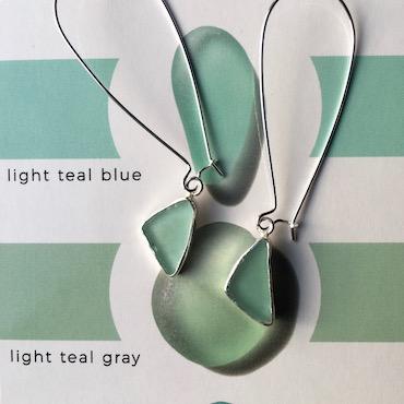Teal drop earrings colour