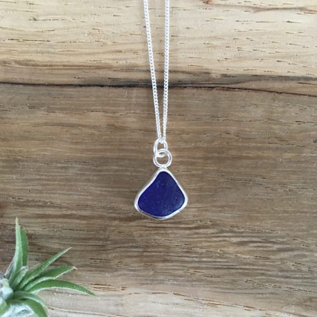 Dark Cobalt Blue Seaglass Necklace - Prisk Beach