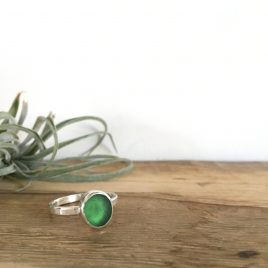 Jade green Seaglass Ring, Arthurs Beach