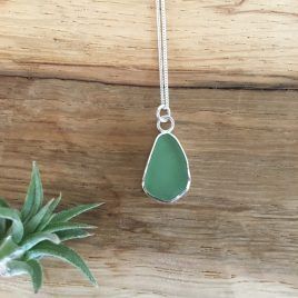 Light Jade Green Seaglass Necklace - Flushing