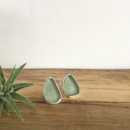 Pale Sage Green Seaglass Studs