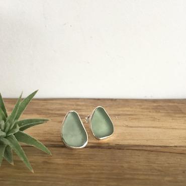 Pale Sage Green Seaglass Studs