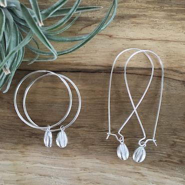 Silver Cowrie Hoops/Long Earrings