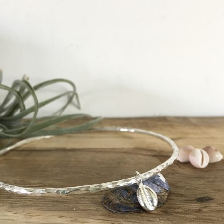 Silver cowrie bangle