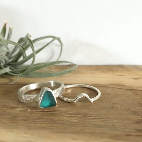 Teal Blue Seaglass Stacking Rings - St Ives