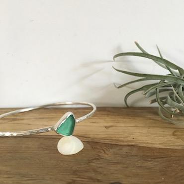 Teal Green Seaglass Bangle - Gylly