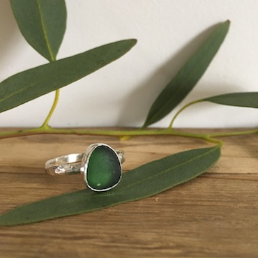 Dark Forest Green Seaglass RIng - Portscatho