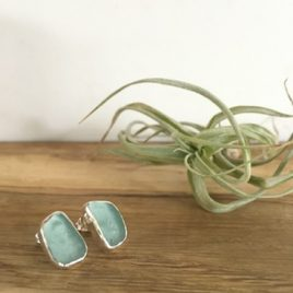 Light Aquamarine Seaglass Studs - Flushing