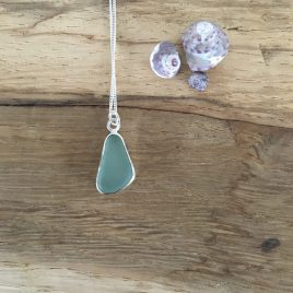 Light Teal Grey Seaglass Necklace - Falmouth Bay