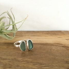 Two Teals Open Seaglass Ring - Gylly & Prisk