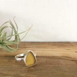 Yellow Gold Seaglass Ring - Nansidwell