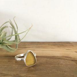 Yellow Gold Seaglass Ring - Nansidwell