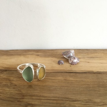 Yellow & Teal Open Seaglass Ring - Gylly